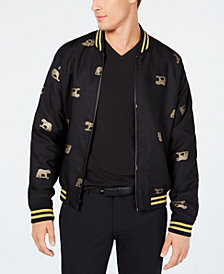 Tallia Men's Slim-Fit Leopard Embroidered Bomber Jacket