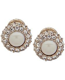 Gold-Tone Pavé & Imitation Pearl Clip-On Button Earrings
