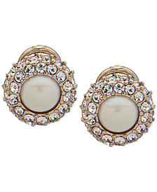 Lauren Ralph Lauren Gold-Tone Pavé & Imitation Pearl Clip-On Button Earrings