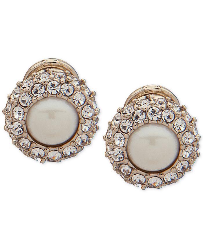 Lauren Ralph Lauren - Gold-Tone Pavé & Imitation Pearl Clip-On Button Earrings