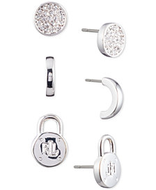Lauren Ralph Lauren Silver-Tone 3-Pc. Set Stud Earrings