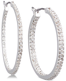 Lauren Ralph Lauren Silver-Tone Crystal In & Out Hoop Earrings