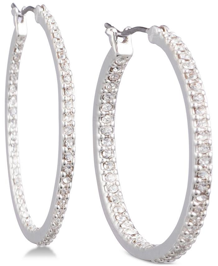 Lauren Ralph Lauren - Silver-Tone Crystal In & Out Hoop Earrings