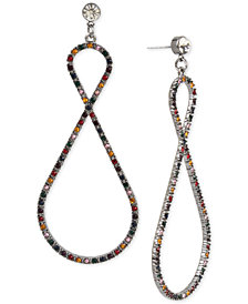 BCBG Hematite-Tone Crystal Confetti Twist Drop Earrings