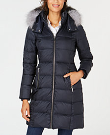 Andrew Marc Fox-Fur-Trim Hooded Down Coat