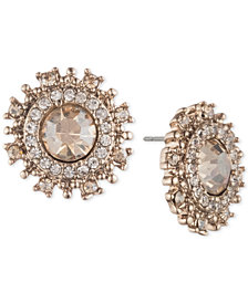 Marchesa Gold-Tone Crystal Halo Stud Earrings