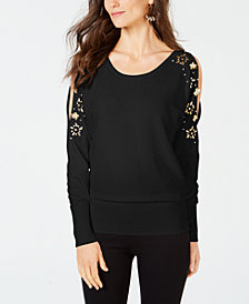 Thalia Sodi Embellished Split-Sleeve Sweater, Created for Macy's