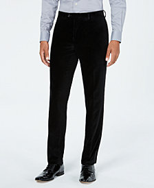 Tallia Men's Slim-Fit Black Velvet with Satin Side Stripe Suit Pants