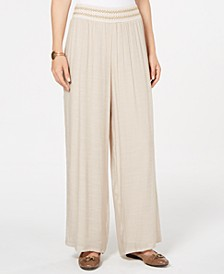 Petite Metallic-Waist Wide-Leg Pants, Created for Macy's