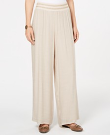 JM Collection Metallic-Detail Wide-Leg Gauze Pants, Created for Macy's