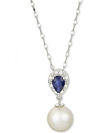 "Cultured Freshwater Pearl (8-1/2mm), Sapphire (1/2 ct. t.w.) and Diamond Accent 18"" Pendant Necklace in 14k White Gold"