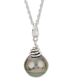 "Cultured Tahitian Pearl (10mm) 18"" Pendant Necklace in Sterling Silver"