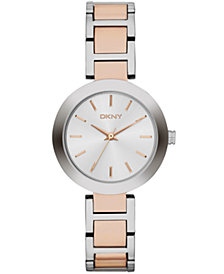 DKNY Women's Stanhope Two-Tone Stainless Steel Bracelet Watch 28mm, Created for Macy's