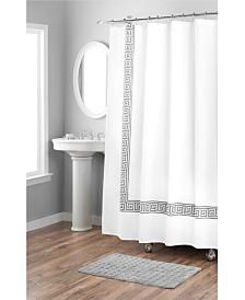 Nicole Miller Printed Greek Key Spring Cotton Shower Curtain