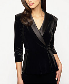 Alex Evenings Velvet Satin-Trim Blazer Top
