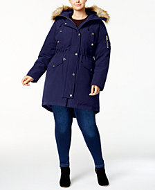 MICHAEL Michael Kors Plus Size Faux-Fur-Trim Parka