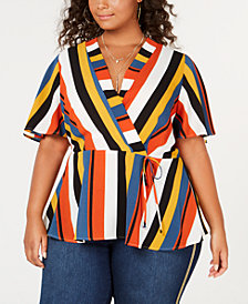 Monteau Trendy Plus Size Faux-Wrap Top