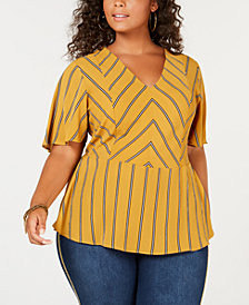 Monteau Trendy Plus Size Peplum Top