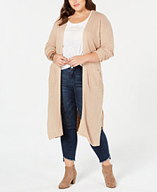 Planet Gold Trendy Plus Size Lace-Up Cardigan