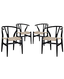 Modway Amish Dining Armchair Set of 4