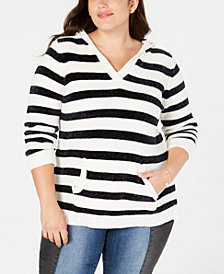 Planet Gold Trendy Plus Size Striped Hoodie
