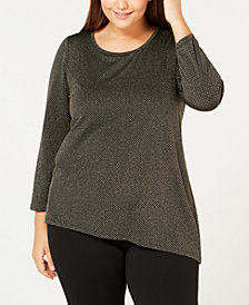 Calvin Klein Plus Size Metallic Asymmetrical-Hem Top