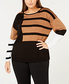 Calvin Klein Plus Size Colorblock Stripe Sweater
