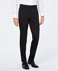 Tallia Men's Slim-Fit Tonal Black Bird Print Suit Pants