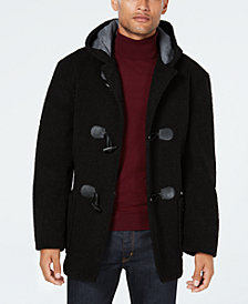 Tallia Men's Slim-Fit Black Faux Fur Toggle Coat