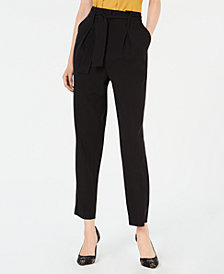 Bar III Pleated Self-Belt Pants, Created for Macy's
