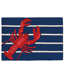 Liora Manne Front Porch Indoor/Outdoor Lobster on Stripes Navy Area Rugs