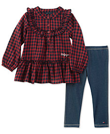 Tommy Hilfiger Baby Girls 2-Pc. Flannel Plaid Tunic & Knit Denim Leggings Set