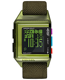 Diesel Men's 40th Anniversary Tipps Digital Olive Canvas Strap Watch 39x59mm,  Limited Edition