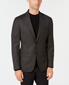 DKNY Men's Slim-Fit Chocolate Brown Diamond Pattern Wool Sport Coat