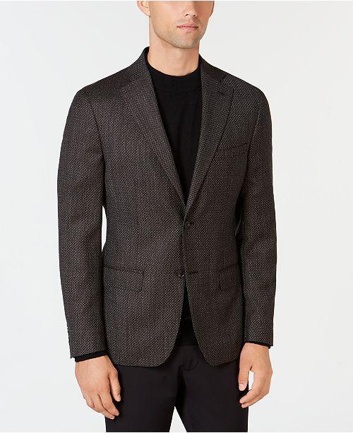 4267b4e93ad ... DKNY Men s Slim-Fit Chocolate Brown Diamond Pattern Wool Sport Coat ...