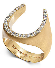 kate spade new york Gold-Tone Pavé Horseshoe Ring