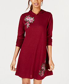 No Comment Juniors' Floral Patch Hoodie Dress