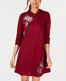 No Comment Juniors' Floral Patch Hoodie Dress