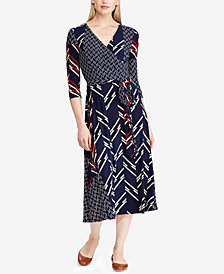 Lauren Ralph Lauren Printed Surplice Midi Dress