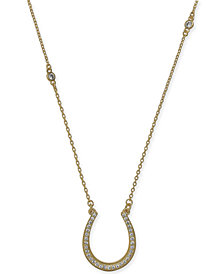 "kate spade new york Gold-Tone Pavé Horseshoe Pendant Necklace, 16"" + 3"" extender"
