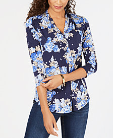 Charter Club Floral-Print 3/4-Sleeve Top, Created for Macy's