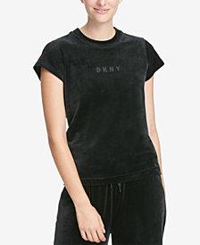 DKNY Sport Velour Logo Cropped T-Shirt