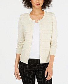 Petite Textured-Front Metallic-Threaded Cardigan, Created For Macy's