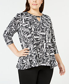 NY Collection Plus Size Embellished Trapeze Top