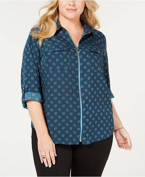 989c47f0d0888 Michael Kors Plus Size Printed Zip-Front Shirt   Reviews - Tops - Plus ...