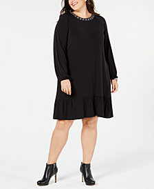 MICHAEL Michael Kors Plus Size Embellished-Neck Dress