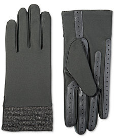 Isotoner Women's  smartDRI® Spandex Touchscreen Gloves with Herringbone Cuff, Created for Macy's