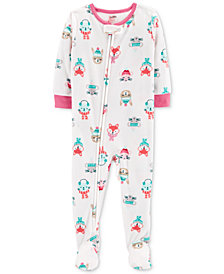 Carter's Baby Girls Animal Faces Footed Fleece Pajamas