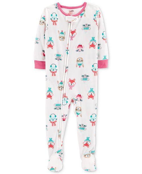 cdcdddc3abc4 Carter s Baby Girls Animal Faces Footed Fleece Pajamas - Pajamas ...