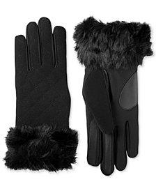 Isotoner Women's Touchscreen Boiled Wool & Spandex Gloves with Faux-Fur Cuff